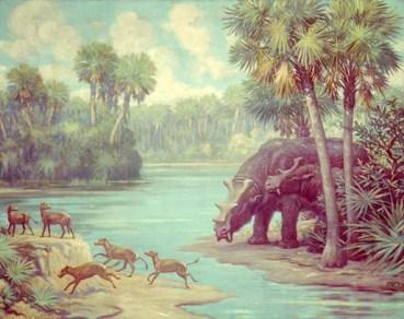 Small four-toed horses of the genus Orohippus, and Uintatherium. Eocene